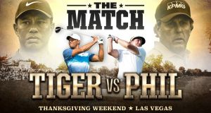 Tiger Woods and Phil Mickelson will play each other in a $9 million winner-takes-all clash in Las Vegas. Photograph: Tiger Woods/Twitter
