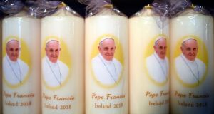 Pope Francis candles are seen for sale at a stall at the Pastoral Congress at the World Meeting of Families in Dublin, Ireland August 22, 2018. REUTERS/Clodagh Kilcoyne