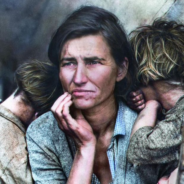 Colourised: Florence Owens Thompson, a poor migrant mother, in an image that came to symbolise the Great Depression for many Americans. From The Colour of Time. Original photograph: FSA/LOC