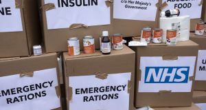 A Brexit protest higlights the possibility of food and medicine shortages.