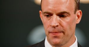 UK Brexit secretary, Dominic Raab, pauses during a question and answer session after delivering a speech in London on Thursday. Photograph: Bloomberg