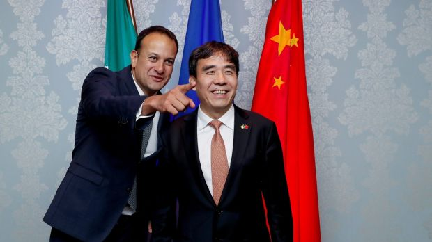 Taoiseach Leo Varadkar TD and Bank of China chairman Tian Guoli in June last year as the bank announced the opening of its Dublin branch. Photograph: Maxwellphotography.ie