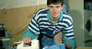Niall Quinn irons his Manchester City shirt back in August 1992. Photograph: Getty Images