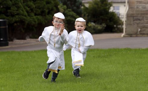 DRESS REHEARSAL: Joshua (4) and Joseph (3) are pictured in their Pope Francis costumes ahead of their trip to Knock to see the pontiff on Sunday morning. Photograph: Donna El Assaad