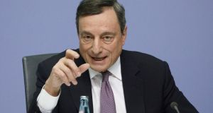 "ECB president Mario Draghi. The bank stressed the need for ""patience"" in removing monetary support too quickly.  Photograph: Bloomberg"