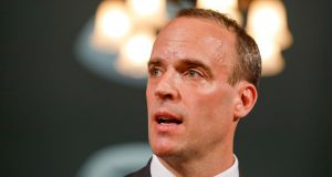 Britain's Brexit secretary Dominic Raab has said the British government is committed to safeguarding the Belfast Agreement and avoiding a hard Border. Photograph: Luke MacGregor/Bloomberg