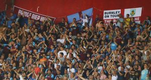 Burnley fans inside the Karaiskakis Stadium on Thursday night. Photograph: Alkis Konstantinidis/Reuters