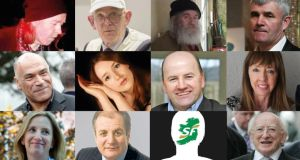Race for Áras an Uachtaráin (top row): Jimmy Smyth, Patrick Feeney, John Groarke, Pádraig Ó Céidigh. Middle row: Kevin Sharkey, Sarah Louise Mulligan, Seán Gallagher, Joan Freeman. Bottom row: Gemma O'Doherty, Gavin Duffy, Sinn Féin's as-yet-unannounced candidate, President Michael D Higgins