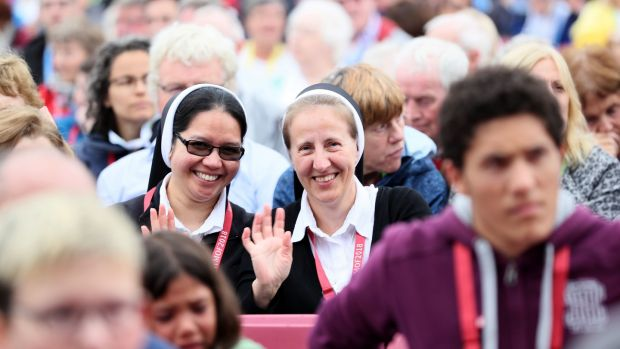 Nuns take their seats for a keynote speech during the World Meeting of Families at the RDS in Dublin. Photograph: Brian Lawless/PA Wire.