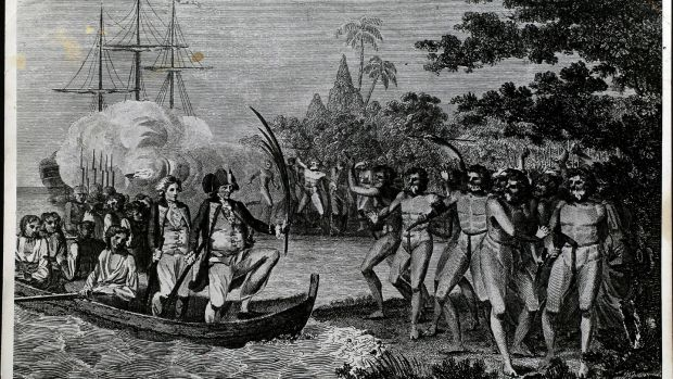 The Landing of Captain Cook and Company at Tanna, one of the New Hebrides. Photograph: Hulton Archive / Getty Images