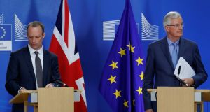 "Britain's Brexit secretary Dominic Raab and EU chief Brexit negotiator Michel Barnier hold a joint news conference. Barnier said both sides needed to ""de-dramatise"" the backstop. Photograph: Reuters"