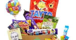 Tha Paddy Box's new Birthday Box   features Tayto crisps and Curl Wurly bars, among other   food goodies