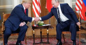 Warm relationship: Presidents Donald Trump and Vladimir Putin in Helsinki in July. Photograph: Doug Mills/NYT