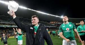 Ireland's Peter O'Mahony and Tadhg Beirne celebrate   after beating Australia in the third Test at Allianz Stadium, Sydney in June. Photograph:  Dan Sheridan/Inpho