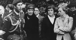 Prince Charles, colonel-in-chief of the parachute regiment. attends a memorial service in Aldershot for the soldiers killed by the IRA ambush at Warrenpoint in 1979. Photograph: Central Press/Hulton Archive/Getty Images