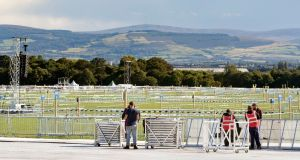 Preparations are made at Phoenix Park in Dublin ahead of Pope Francis's visit. Photograph: Danny Lawson/PA Wire