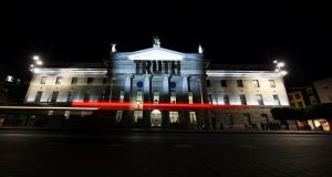 The word 'truth is projected on the GPO in Dublin  as part of a protest ahead of the visit by Pope Francis. Photograph: Reuters/Hannah McKay
