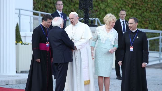 Pope Francis leaves Arás an Uachtaráin after meeting President Michael D Higgins and his wife Sabina. Photograph: Danny Lawson/PA
