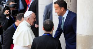 Pope Francis is greeted by Taoiseach Leo Varadkar at Dublin Castle during his visit to Dublin. Photograph: Gonzalo Fuentes/Reuters.