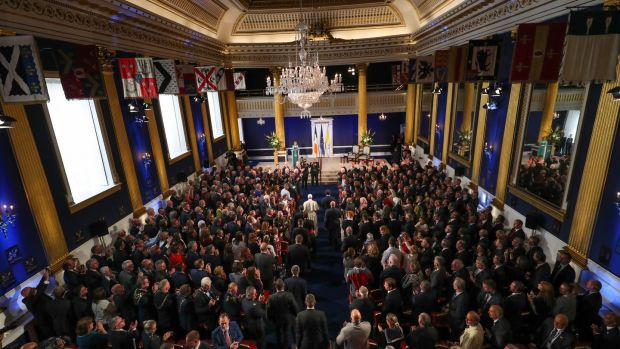 A wide view of the audience at St Patrick's Hall in Dublin Castle as Pope Francis arrives. Photograph: Maxwells