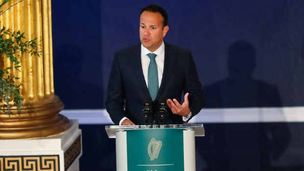 The Taoiseach Leo Varadkar speaking at Dublin Castle. Photograph: Maxwells
