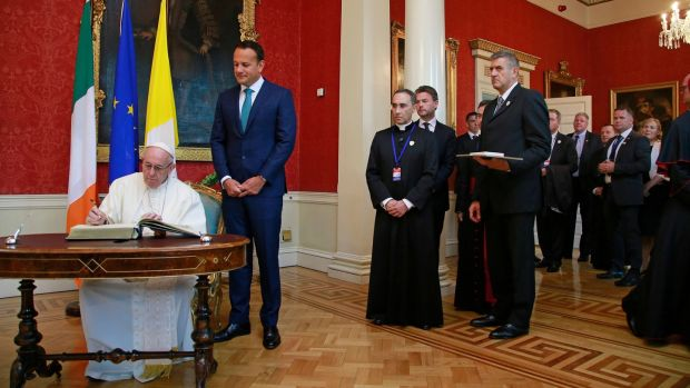 Pope Francis and the Taoiseach Leo Varadkar at Dublin Castle. Photograph: Nick Bradshaw/The Irish Times