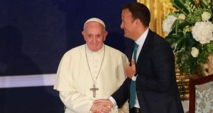 Pope Francis shakes hands with Taoiseach Leo Varadkar. Photograph: Nick Bradshaw/ The Irish Times