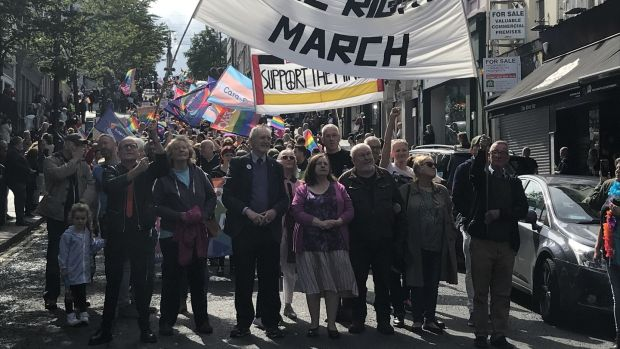 Civil rights veterans led the Pride parade in Derry on Saturday. Photograph: Freya McClements