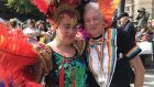 Tracy Best and Sharon Oliver from Limavady, Co Derry, at the parade. Photograph: Freya McClements