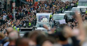 A view  from City Hall, Dame Street, Dublin, during the Pope's   drive through the city centre on Saturday afternoon. Photograph: Nick Bradshaw/The Irish Times