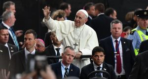 Pope Francis arrives to attend the Festival of Families at Croke Park. Photograph: Getty Images