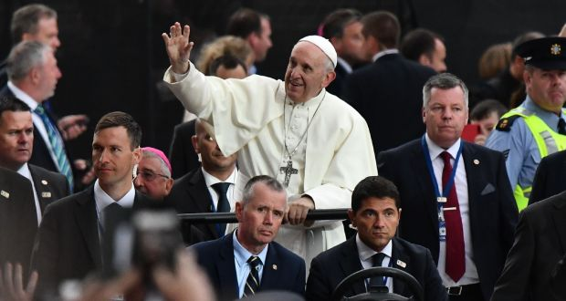 098f94bf820 Pope Francis arrives to attend the Festival of Families at Croke Park.  Photograph: Getty