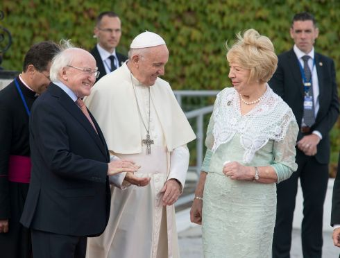 Pope Francis with President Michael D Higgins and his wife Sabina at Áras an Uachtaráin. Photograph: Dave Meehan/The Irish Times