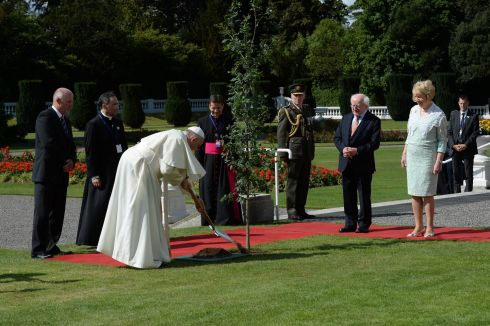 Pope Francis plants a tree in the grounds of the Áras to mark the occasion of the World Meeting of Families in Ireland. Photograph: Cyril Byrne/The Irish Times
