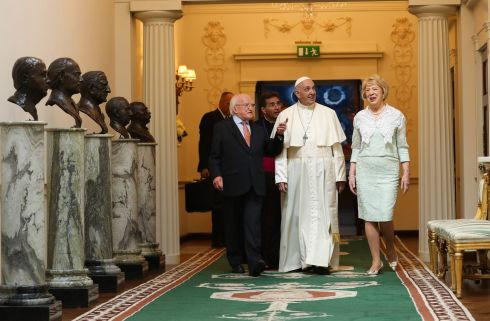 Pope Francis walks with the President Michael D Higgins and his wife Sabina Higgins at Áras an Uachtaráin. Photograph: WMOF2018/Maxwell Photography via Getty Images