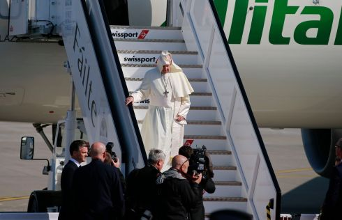 Pope Francis arrives at Dublin Airport this morning. Photograph: Nick Bradshaw/The Irish Times