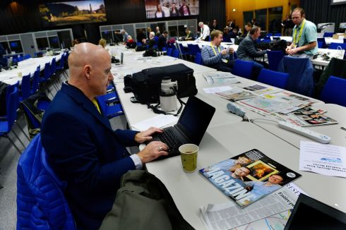 Conor Pope  in the press room for the visit  of Pope Francis this morning.  Photograph: Cyril Byrne/The Irish Times