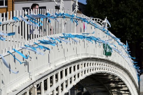 Blue ribbons are tied to the Ha'Penny Bridge, Dublin, to remember the victims of clerical sex abuse ahead of the start of the visit to Ireland by Pope Francis. Photograph: Aaron Chown/PA Wire