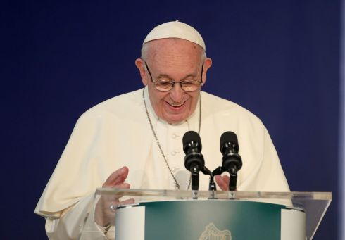 Pope Francis delivers a speech in St Patrick's Hall at Dublin Castle. Photograph: Yui Mok/PA Wire