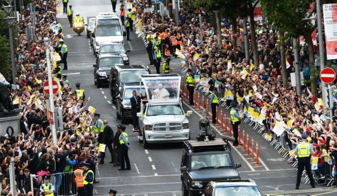 Pope Francis travels down O'Connell Street during his visit to Dublin. Photograph: Cyril Byrne/The Irish Times