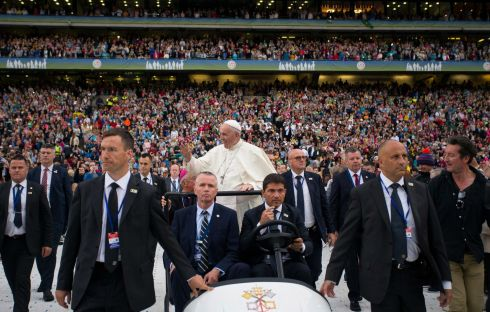 Pope Francis makes his way through the crowds at Croke Park. Photograph: Maxwell's/WMOF