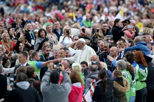 Pope Francis gestures on his arrival at Croke Park in Dublin. Photograph: Paul Faith/AFP/Getty Images