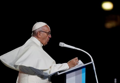 Pope Francis speaks during the Festival of Families at Croke Park during his visit to Dublin. Photograph: Stefano Rellandini/Reuters