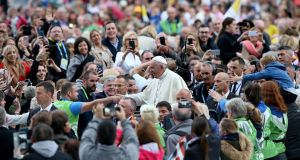 Pope Francis arrives at the Festival of Families at Croke Park  in Dublin. Photograph: Paul Faith/AFP/Getty Images