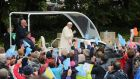 Pope Francis arrives for his visit to Knock Holy Shrine, in County Mayo to view the Apparition Chapel and to give the Angelus address. Photograph: Niall Carson/PA Wire