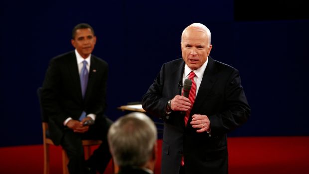 John McCain speaks during a debate with his opponent, Barack Obama, in Nashville on October 7th, 2008. Photograph: Stephen Crowley/The New York Times
