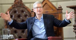 Apple chief executive Tim Cook's annual bonus is valued at about $121 million. Photograph: Eric Luke