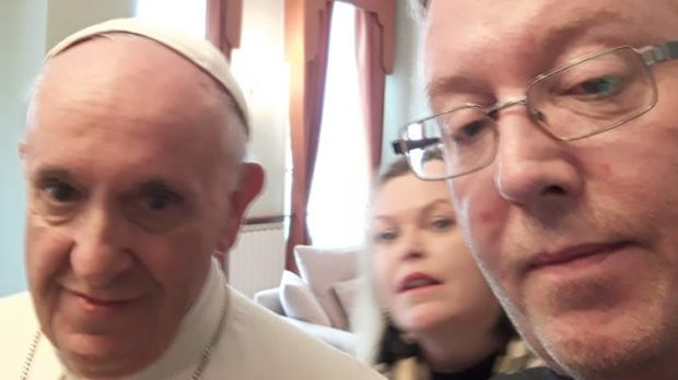 Paul Redmond and Clodagh Malone with Pope Francis.