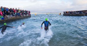 Competitors  start the Ironman challenge In Scotsman's Bay in Dun Laoghaire last week. Photograph: Peter Cavanagh