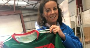 Audrey Elliott with the     Mayo football jersey signed by Pope Francis at Ireland West Airport, Knock, Co Mayo, which she hopes will lift the Mayo 'curse' so the team can win an All-Ireland title.  Photograph:   Cate McCurry/PA